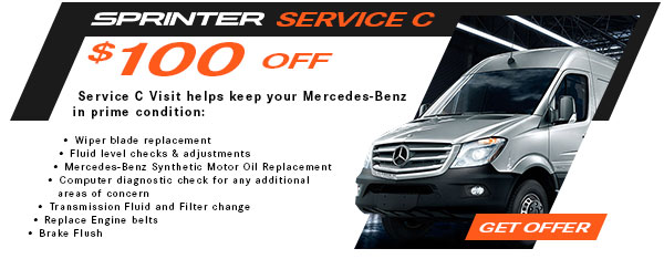 Service C: $100 Off Schedule C service for Sprinter and Metris