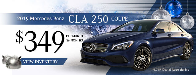 2019 Mercedes-Benz CLA 250 Coupe for $349 per month for 36 months.