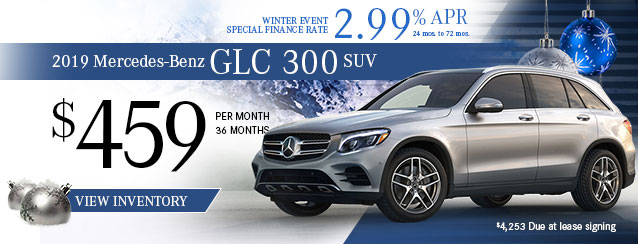 2019 Mercedes-Benz GLC 300 SUV for $459 per month for 36 months or 2.99% financing for 24 to 72 months.