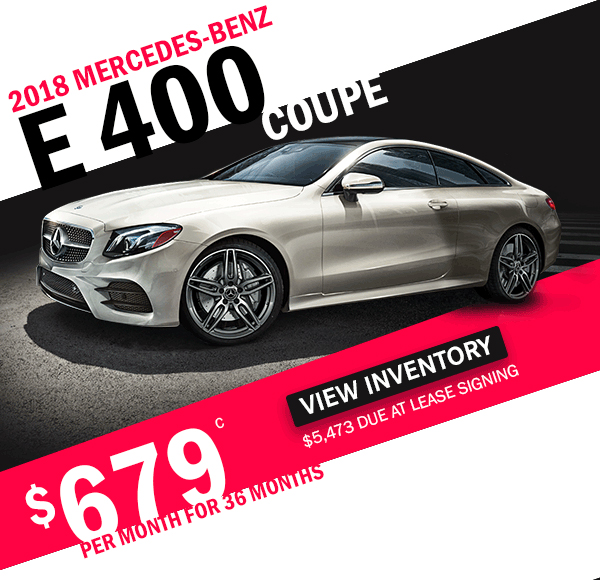 2018 Mercedes-Benz E 400 Coupe for $679 per month for 36 months