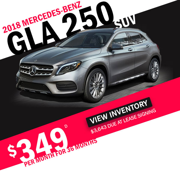 2018 GLA 250 SUV for $349 per month for 36 months