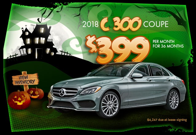 2018 C 300 for $399 per month for 36 months with $4,247 due at lease signing.