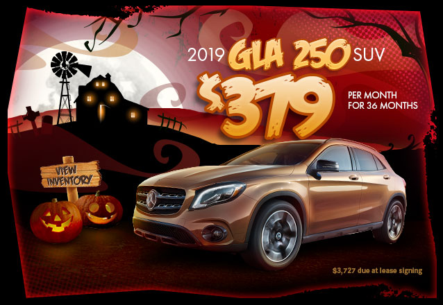 2019 GLA 250 for $379 per month for  36 months with $3,727 due at lease signing.